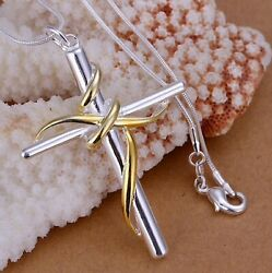 Mens Womens 925 Sterling Silver Cross Pendant 18quot; Chain Necklace $9.99