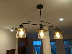 Edison Industrial Style 3 LED Bulb Chandelier with Oil Bronze Finish.