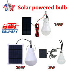 Solar Panel Powered LED Lights Bulb Light Tent Lamp Yard Camping Outdoor Indoor $14.85