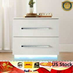 Modern High Gloss LED Lights Nightstand Bedside End Table With 2 Drawers White $90.00