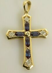 Alexandrite and Diamond Cross in 10k Yellow Gold 1.55 Carats $252.29