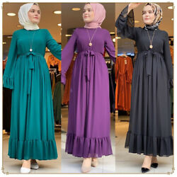 Women Fashion Chiffon Long Sleeve Maxi Dress Abaya Arab Casual Loose Kaftan Robe C $46.95