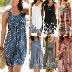 Womens Summer Beach Sleeveless Mini Tank Dress Casual Boho Holiday Sundress Plus $10.44
