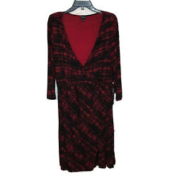TORRID Womens Red Black Printed V Neck Faux Wrap Dress Career Cocktail Plus 2X $24.99
