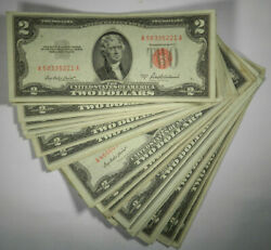 Lots of 5 1953 Dollar Note $2 Silver Certificate VF to AU Red US Currency $43.95