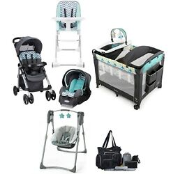 Baby Stroller with Car Seat and Car Base Playard Swing Chair Bag Infant Combo $599.99