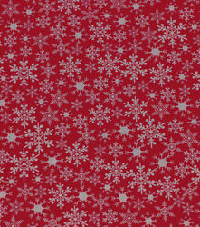 NEW White Snowflake on Red Fabric By the Half Yard Cotton $5.00