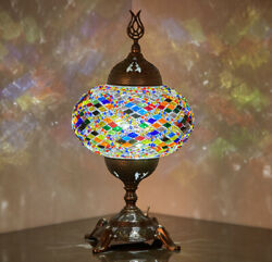 BATTERY Operated Turkish Moroccan Mosaic Colorful Boho Table Bedside Lamp Light $53.80