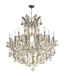 Maria Theresa Collection 19 Light Chrome Finish Golden Teak Crystal Chandelier $1,055.12