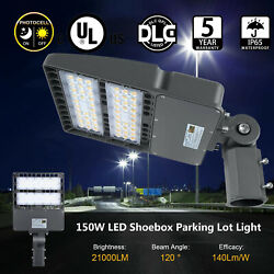 150W Commercial LED Road Street Light Flood Shoebox Industrial Lamp Dusk to Dawn