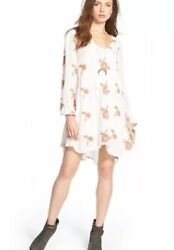 FREE PEOPLE Women's XS Emma Austin MINI DRESS Long Sleeve Embroidered BOHO $14.99