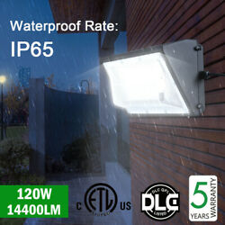 Waterproof IP65 Commercial Lighting Fixture 120W LED Wall Pack Light 5000K DLC
