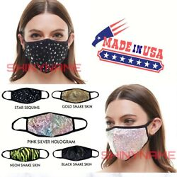 Fashion Face Mask(Black-Gold-Sequin-Pink-Neon-LAKERS-BULLS)Washable MADE in USA $7.99