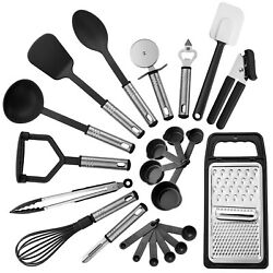 23 Piece Kitchen Utensils Set Nylon Utensils Stainless Steel Cooking Tools Set $13.65