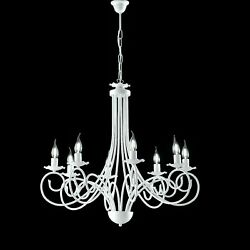 Hanging Chandelier White Shabby Wrought Iron Candles 3 5 8 Lights $119.25