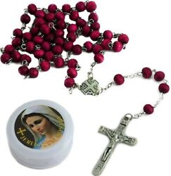 Catholic Rosary Necklace Rose Scented Red Beads Jerusalem Cross Gift Box