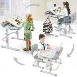 Height Adjustable Kids Desk and Chair Set Children Study Table for Students Grey $85.00