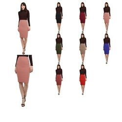 FashionOutfit Women#x27;s Fitted Solid Bubble Crepe High Waist Midi Pencil Skirt $11.99
