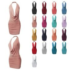 FashionOutfit Women#x27;s Halter Neck Ruched Party Cocktail Sexy Body Con Mini Dress $12.34