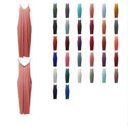FashionOutfit Women#x27;s Casual Adjustable Strap Side Pockets Loose Long Maxi Dress $11.99