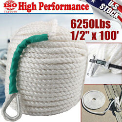 1 2quot;x100#x27; Twisted 3 Strand Nylon Anchor Rope Boat w Thimble Rigging Line 6250LBS $29.99