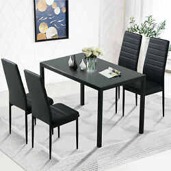 Black 5 Piece Dining Table Sets Glass Metal 4 PU Leather Chair Kitchen Furniture $219.99