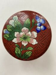 Japanese Floral Vintage Box Tin Small Metal Brown Green Blue Color $17.00