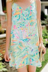 "Lilly Pulitzer Lela Dress in ""Sea Salt and Sun"" Size XS Sundress Silk $39.00"