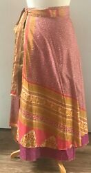 Recycled Sari Silk Wrap Skirt Pink Floral Pattern (Long) Boho Hippie $20.00
