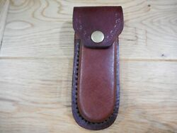Dark oil Brown leather knife case- sheath - holds folding knives up to 5