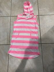 Girls Old Navy Pink White Striped Beach Cover Up Dress- 8- Cute! $3.00