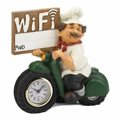 HOME KITCHEN DECOR CHEF MOTORCYCLE CLOCK WITH WIFI SIGN $42.98