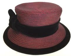 Vintage DEBORAH RHODES Burgundy Hat Church Hat Silk and Velvet MINT *RARE* $28.00