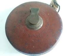 Vintage Leather Chesterman Sheffield 50 ft Tape Measure  Antique USED