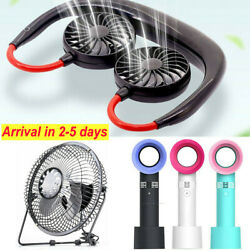 Portable USB Rechargeable Neckband Lazy Neck Hanging Dual Cooling Mini Desk Fan $9.99