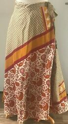 Recycled Sari Silk Wrap Skirt RedGold Paisley Pattern (Long) Boho Hippie $20.00