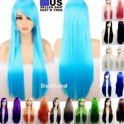 80cm Long Straight Women Cosplay Costume Party Hair Anime Wigs Full Hair Wig $12.49