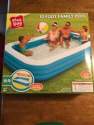 Play Day Rectangular Inflatable Family 10ft Pool 120