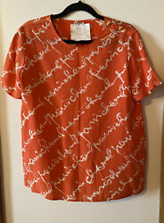 Authentic CHANEL Logo Script Orange Silk Vintage Blouse Top Sz 42
