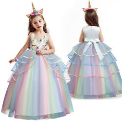 Lace Flower Girl Dress Party Unicorn Birthday Party Long Gown $20.99