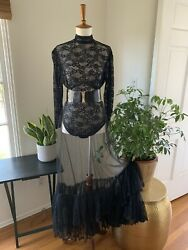 Vintage 1980s Black Net And Lace Ruffle Maxi Skirt