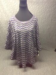 BEAUTIFUL PULL OVER  Plum graysilver KNIT NWT Size L by AB Studio $7.99