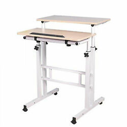 White Mobile Sit And Stand Computer Desk Writing Table 2 Tier Office Workstation $80.99