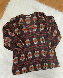 Tucker Womens Silk Long Sleeve Aztec Print Blouse Top Brown Size Small $29.99