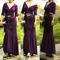 Vintage Long Dress Hoodie Crop Top Pleated Skirt Gothic Steampunk Maxi Gown