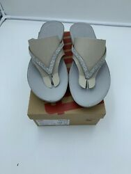 FitFlop Linny Crystal Silver Womens Jewel Thong Comfort Sandal Sz 11 $19.99