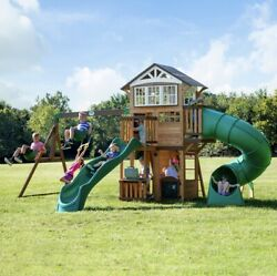 BRISTOL POINT Large Cedar Wood Playground Swing Set 2 Slides Clubhouse Rock Wall $1,899.99
