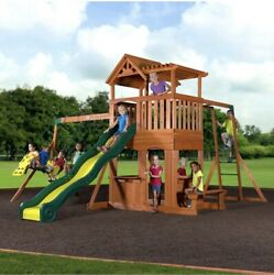 ❗️THUNDER RIDGE Cedar Wood Swing Set Monkey Bars Slide Clubhouse Playground $1,699.99