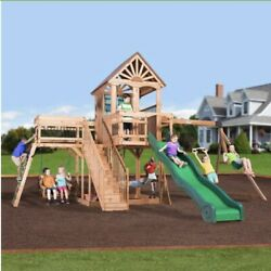 ‼️CARIBBEAN All Cedar Wood Swing Set Playground Slide Rock Wall Clubhouse‼️ $1,999.99
