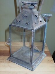 Antique 19th Century Pierced Tin Lantern Dual Fueled Candle or Whale Oil Mining $800.00